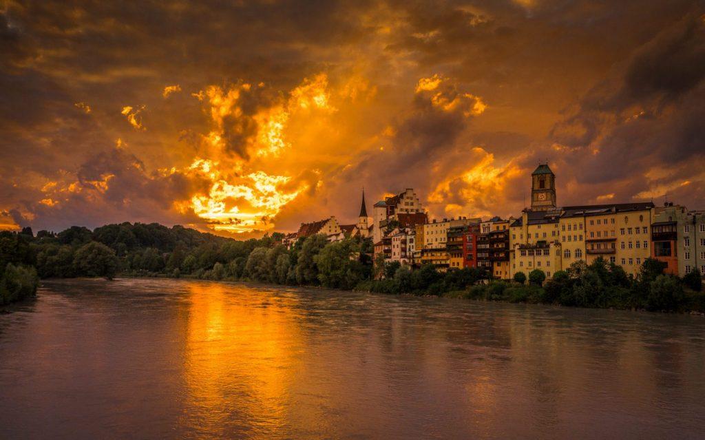 Sonnenuntergang in Wasserburg